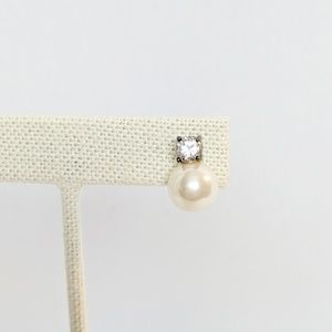 Swarovski Faux Pearl & Crystal Stud Earrings